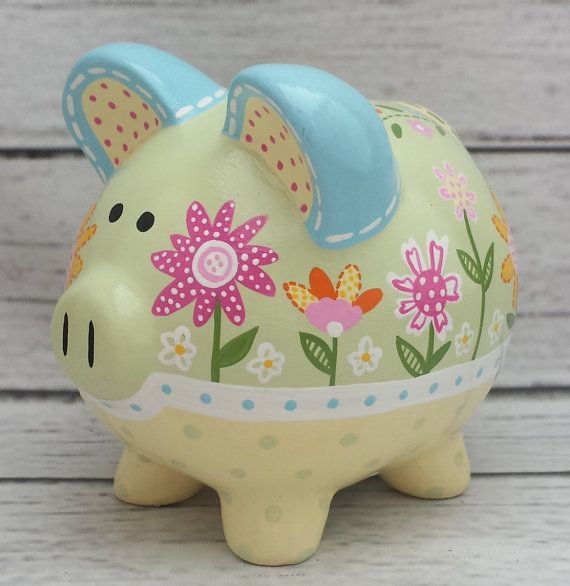Personalized Piggy Bank Custom hand painted by Alphadorable