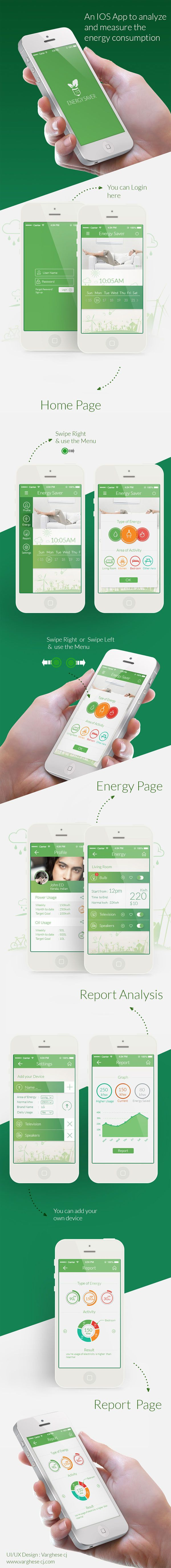 IOS app to analyze your energy consumption #ios #app #mobile #design #home #ux #ui