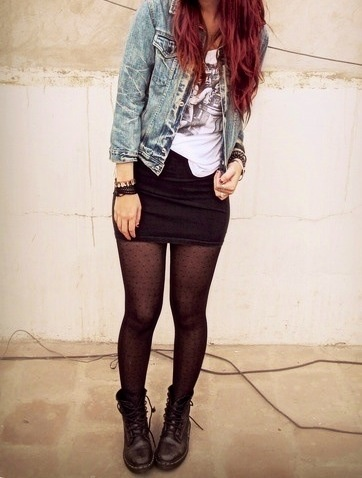 Punk chic  tights + pencil skirt + combat boots + jean jacket