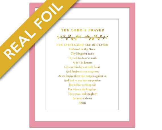 The Lord's Prayer Gold Foil Art Print - Inspirational - Christian Gift - Christian Home Decor - Christian Quote Poster - Christian Prayer