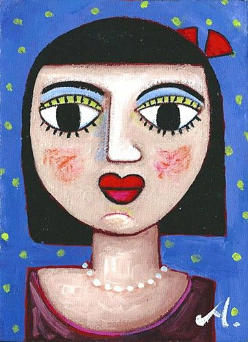 "Annie Robinson, ""White Pearls"" #art #pearls #bows #girl #portrait #polkadots #painting #DukeStreetGallery"