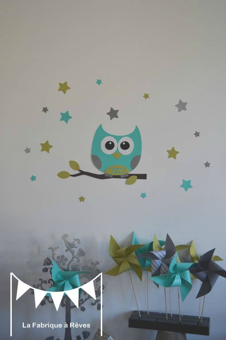 stickers d coration chambre enfant fille b b gar on hibou toiles anis turquoise gris 2. Black Bedroom Furniture Sets. Home Design Ideas