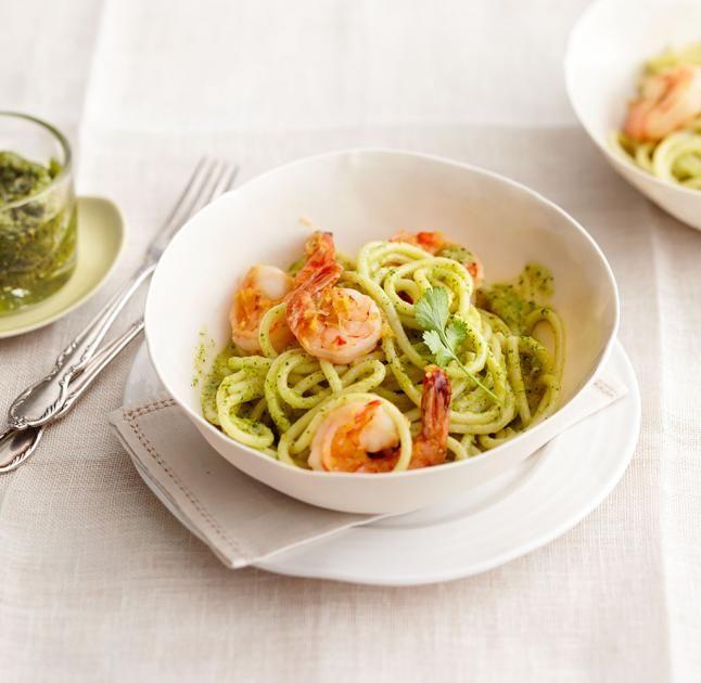 Spaghettoni mit Garnelen und Erdnuss-Pesto Rezept - [ESSEN UND TRINKEN]
