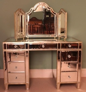 Gorgeous Art Deco Mirrored Dressing Table with Mirror