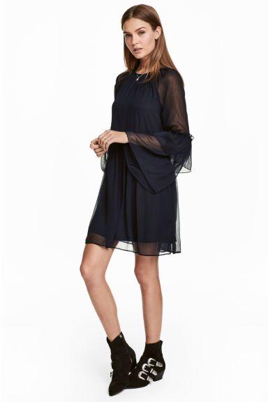 Robe en mousseline - Bleu foncé - FEMME | H&M FR 1