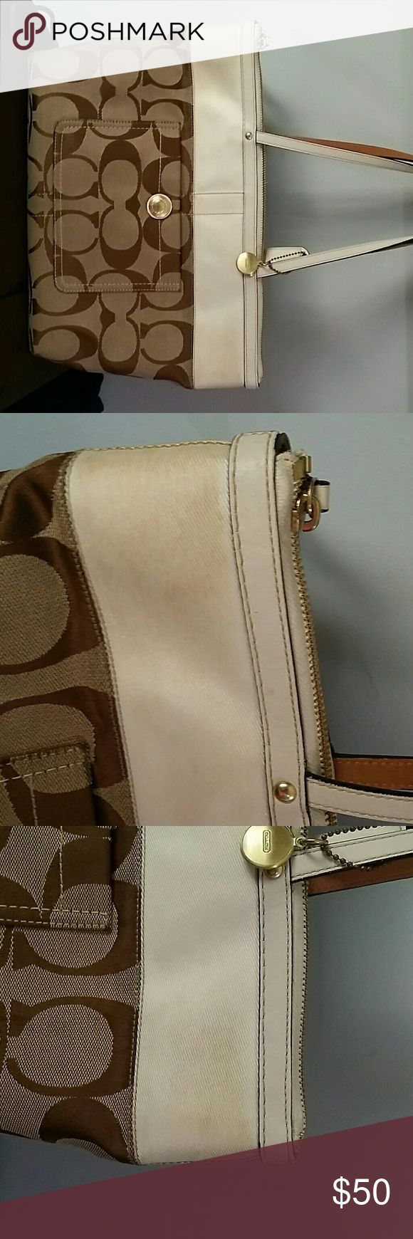 Coach monogram cream stripe shoulder bag used Preowned Coach shoulder bag. Monogram canvass. Light beige stripe is soiled. Bottom has some stain. Not sure if those can be cleaned but I'm leaving that up to a new owner. Inside very nice and clean. Coach Bags Shoulder Bags