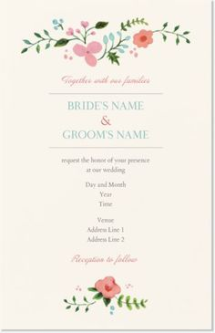 Pink Floral Vertical Flat Wedding Invitations, Floral Pink Vertical Flat Wedding Invitations | Vistaprint