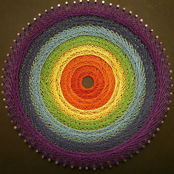 Mandala string art fil tendu couleur des chakras tableau