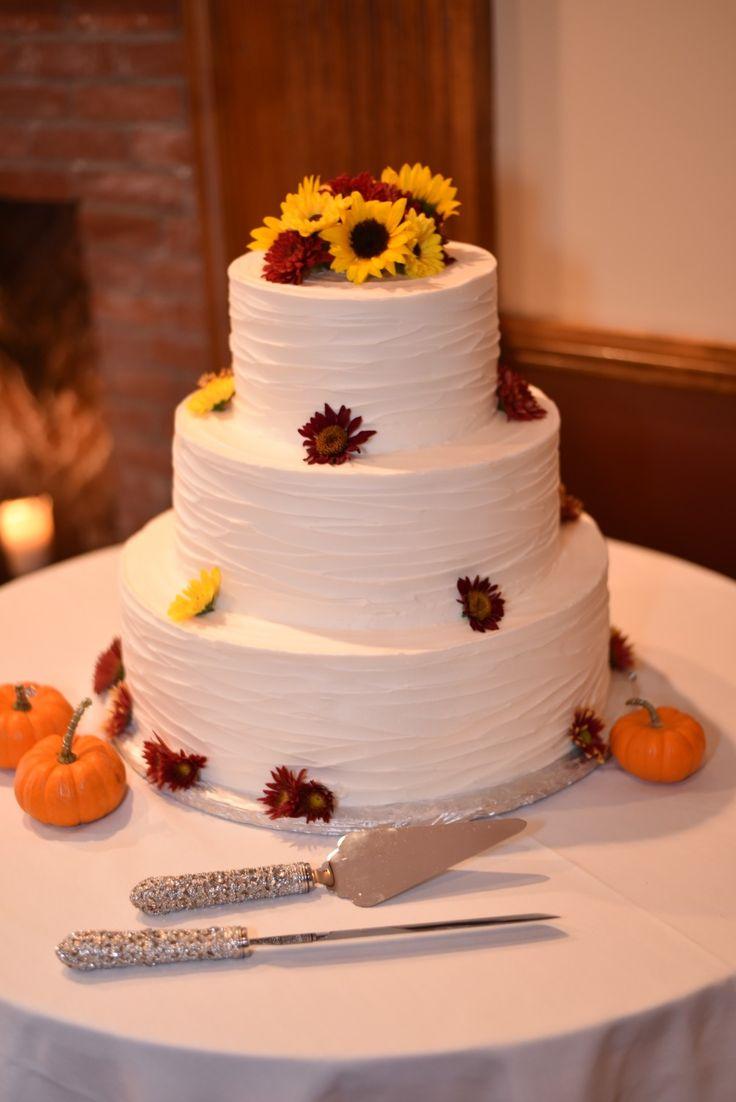 Fall sunflower wedding cake
