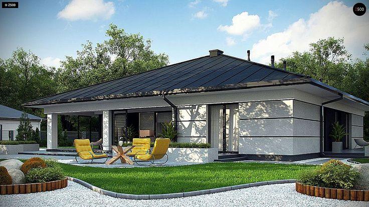 Проект ститьного одноэтажного дома с просторной террасой и с гаражом на два автомобиля S3-186-5 (Z378). Визаулизация 3. Shop-project