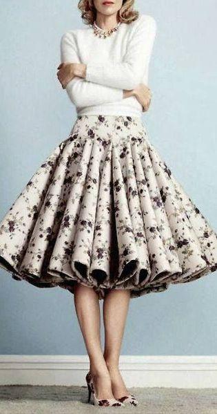 Black and white floral midi skirt