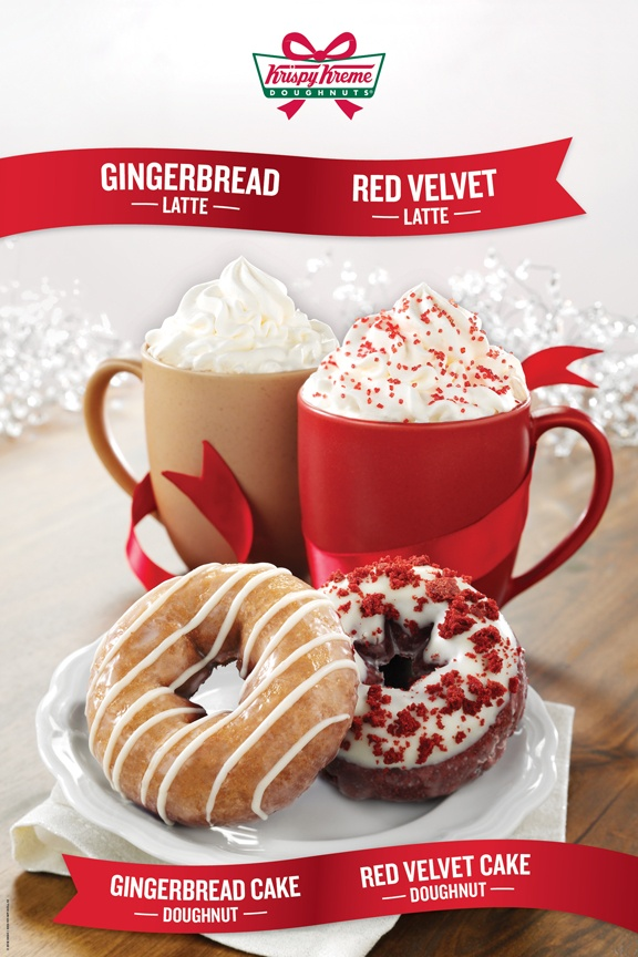 Start a warm and tasty tradition with these new holiday beverages. Available hot and iced:  • Gingerbread Latte- smooth and spicy gingerbread flavored espresso drink topped with whipped cream.     • Red Velvet Latte- sweet and creamy red velvet cake flavored espresso drink topped with whipped cream, and a sprinkle of red sanded sugar.