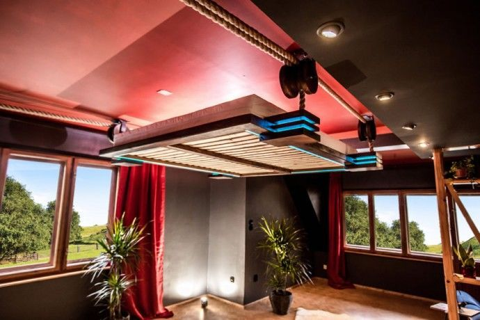hanging bed - Polish designer Wiktor Jażwiec recently designed a hanging bed that serves as a stylish, space-saving solution. Far more comfortable than your ave...