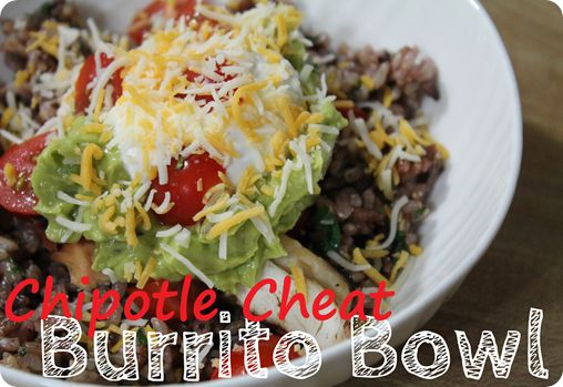 Chipotle Cheat: Burrito BowlCheat Burritos Bowls, Easy Recipe, Diy Burritos, Burrito Bowls, Chipotle Cheat Burritos, Burritos Bowls Dollop, Gluten Free, Healthy Food, Fast Food