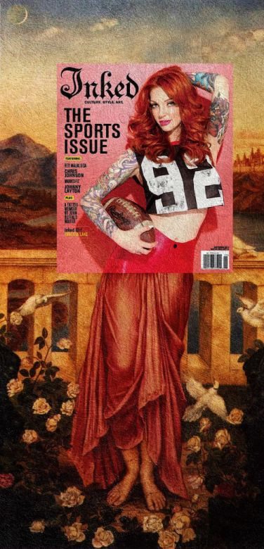 Vanessa Lake from our 2013 Sports Issue looks phenomenal as part of Evelyn de Morgan's Helen of Troy.  Art by Eisen Bernard Bernardo #InkedMagazine #art #covers #classic #mashup #cool #blog