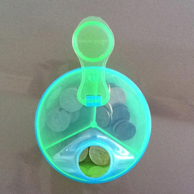Old Baby formula dispenser is now a coin divider for your car console!