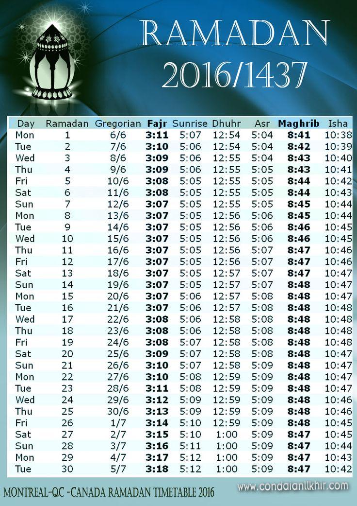 Ramadan calendar in canada