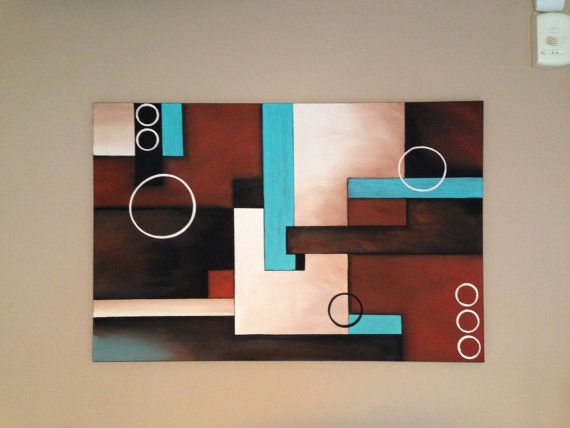 Abstract  painting turquoise paintingbrown by Creationsbyconni