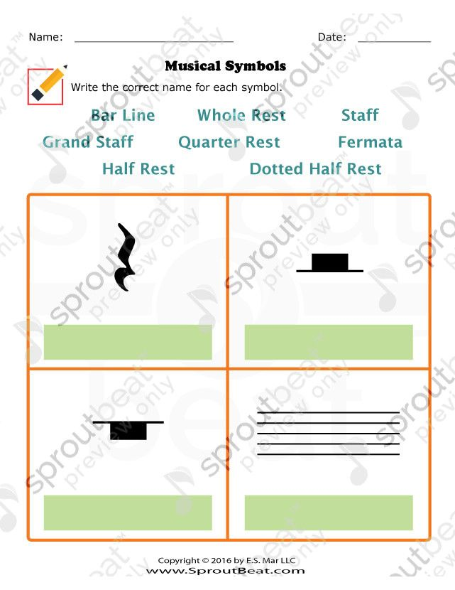Music Worksheets Musical Terms And Symbols Musical Symbols