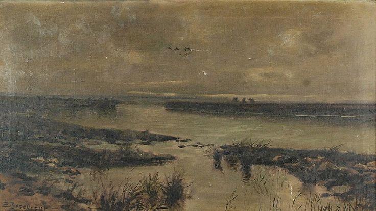 Zygmunt JÓZEFCZYK (1881-1966)  Nad rozlewiskiem olej, płótno; 53,5 x 93 cm;