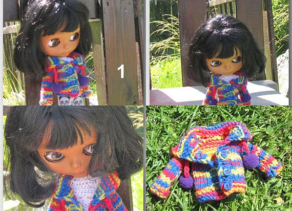 Handmade knitted knitted knitted sweater for Blythe doll free