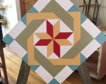 Tobacco Leaves Barn Quilt Pattern 3'x3' by RemillardBarnQuilts