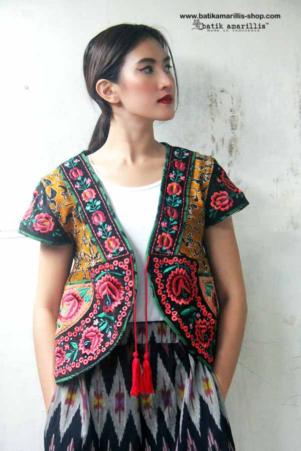 Batik Amarillis's Hungarian Garden vest Batik Amarillis's Garden Vest  This is when Indonesia's traditional textile :Tenun Batik Gedog Tuban meets Hungarian embroidery on black corduroy