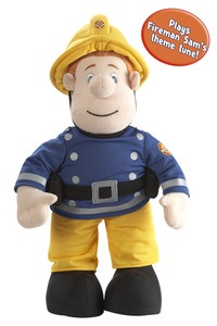 """Fireman Sam - Talking Plush. Fireman Sam 12"""" huggable plush can be taken on any firefighting adventure. Press Sams hand, and this soft cuddly toy will say phrases from the show. $34.99"""