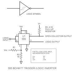555 Schmitt Trigger Logic Inverter Level Translator