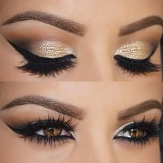 Glam Gold Glitter  Eyeshadow False Extension Lashes Mascara Cat Winged Eye Liner Amrezy Makeup Artist MUA