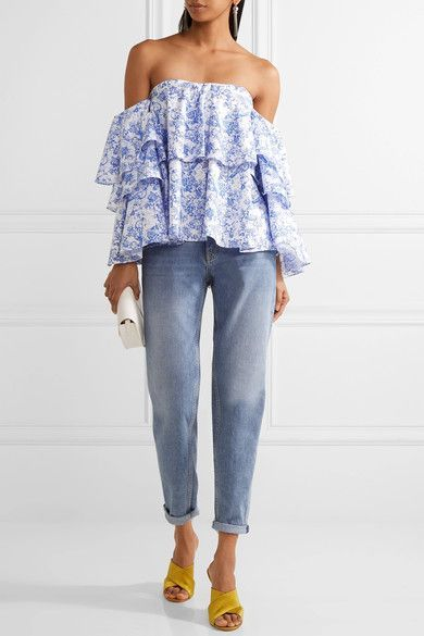 Caroline Constas - Carmen Off-the-shoulder Printed Cotton-blend Toile Top - Blue -