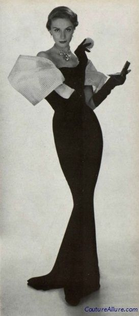 Jean Patou, 1950  elegance is simple. black is classic. expression on your face is confidence.