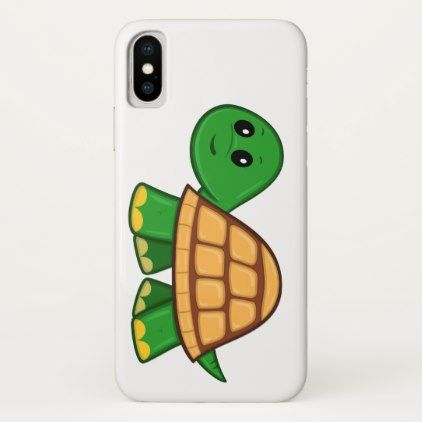 Cute Cartoon Turtle iPhone X Case - animal gift ideas animals and pets diy customize