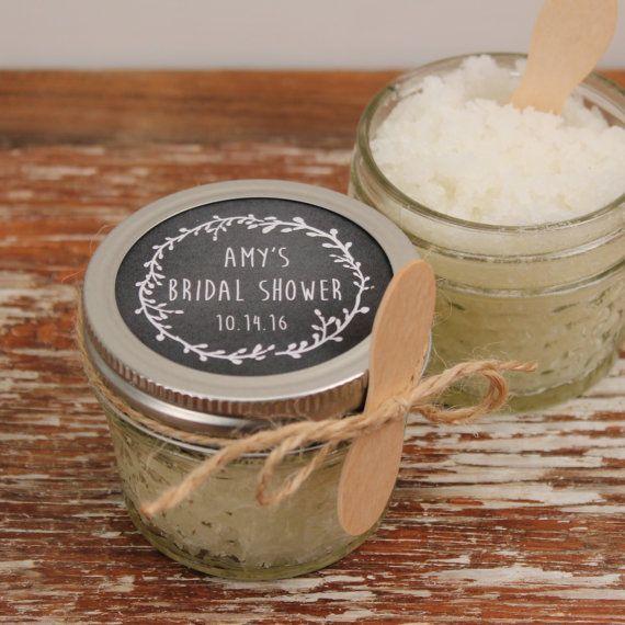 Set of 12- 4oz - Sugar Scrub Bridal Shower Favor - All-Natural, Vegan - Laurel Chalkboard Label // Rustic Shower Favor // Mason Jar Favor
