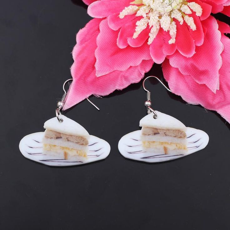 Cake Slice Earrings - How adorable are these Dessert Earrings? Having these hanging on your Ear lobes have Everyone Drooling for You! #cake #earrings