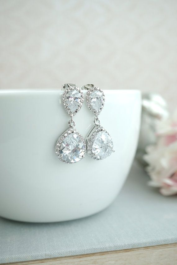 ♥´¨)  ¸.•´ ¸.•*´¨)  (¸.•´ ♥ ~ Gorgeous and lots of sparkle are these rhodium plated framed cubic zirconia pear drops. They dangle beneath from rodium