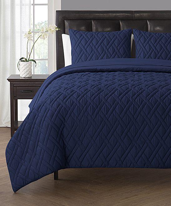 navy lattice sevenpiece comforter set