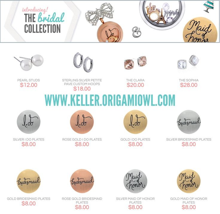 Bridal Jewelry by Origami Owl. These make excellent gifts for bridesmaids, Mother of the Bride & Groom, and the Bride to be!  You can have a keepsake from your wedding day for years to come. www.charming connection.origamiowl.com/ #ccorigami