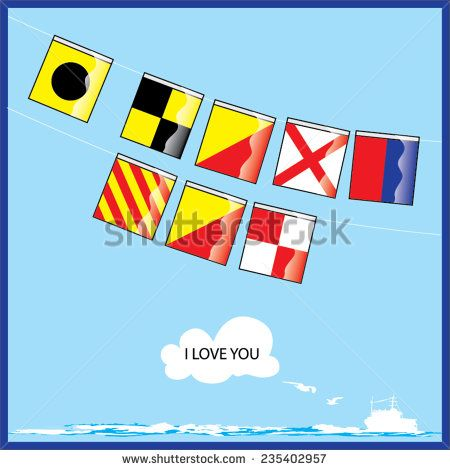 A vector set of Nautical flags with letters of I Love You - stock vector  #alphabet #banner #boat #boating #characters #cloud #code #communicate #communication #shutterstock
