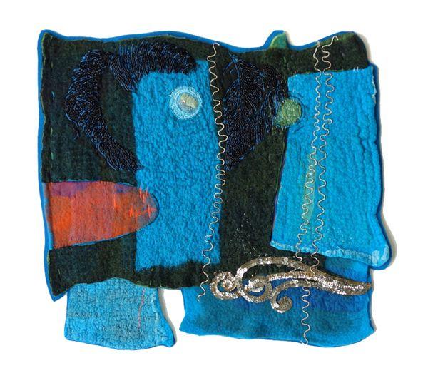 """Wave"" felting, application, embroidery by Marijke Leertouwer"