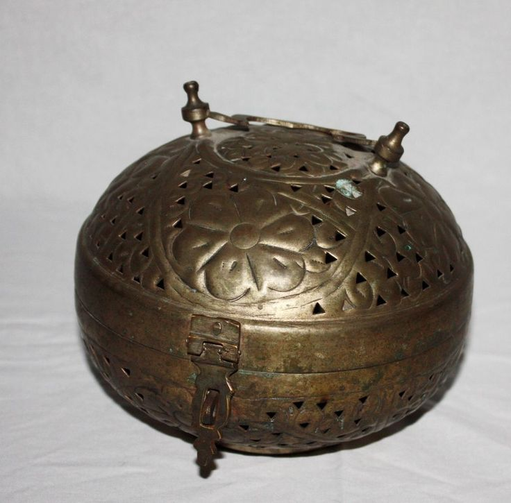 Round Tarnished Silver Tone Metal Incense Box Home Decor Middle Eastern Design