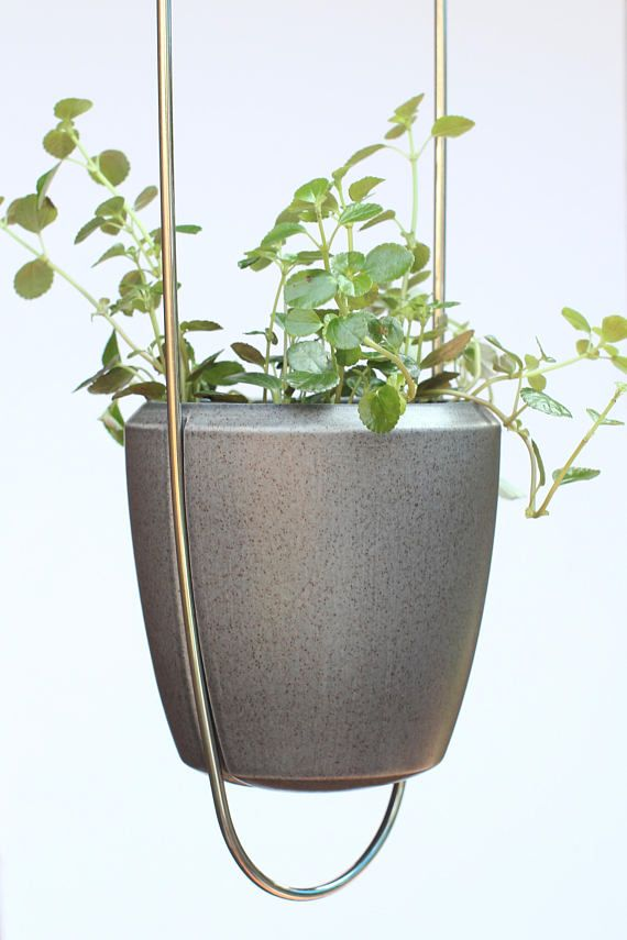 Modern Wire Plant Hanger With Ceramic Pot Hand Made Stainless Steel Hanging Planter With Earthenware Size 34 X5 5 Metal Plant Hangers Hanging Planters Ceramic Pot