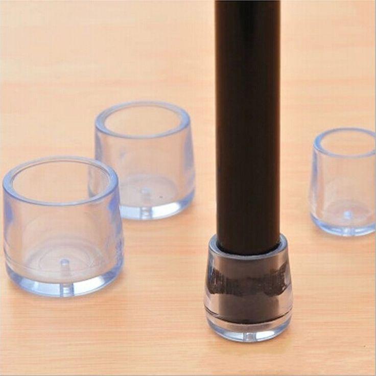 Practical 4Pcs Transparent Rubber Furniture Table Chair Leg Floor Feet Cap Cover Protector 15mm