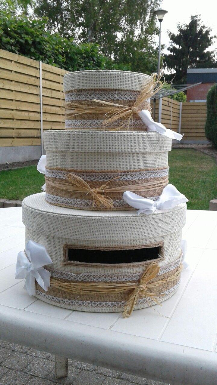 Wedding card box Gemaakt met ikea dozen jute en lint