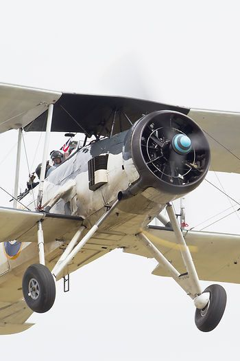 The Royal Navy Historic Flight's Fairy Swordfish Mk.II LS326 making a welcome return to Flying Legends after an absence of many years while corroded wing spars were replaced.
