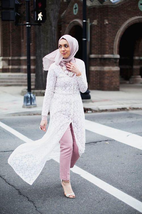 lace long cardihan hijab, Stylish hijab looks by Hani Hulu…