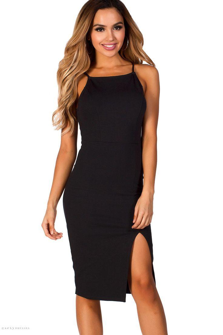 schwarzes schlichtes elegantes kleid