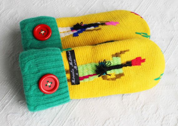sweater mittens yellow mittens wool mittens by miraclemittens, $38.00