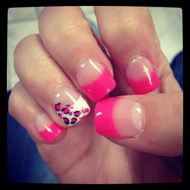 hot pink tip nails - photo #13