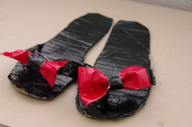 Duct tape shoes. Everyone knows there are a million and one things duct tape can fix. Keep lots and mix up the colors.